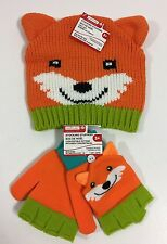 Toddler Beanie Hat Mittens Matching 3+ Fox w/ Ears Orange Creatology New NWT