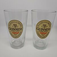 Guinness Extra Stout 16oz Pint Beer Glass Set of 2 Dublin Ireland Craft Beer EUC