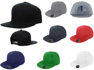 Snapback Baseball Cap Plain Classic Retro Hip Hop Adjustable Flat Peak Hat
