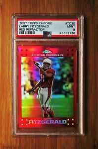 2007 Topps Chrome Red Refractor #20 LARRY FITZGERALD - PSA 9 MINT