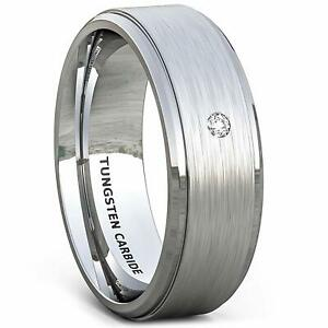 Mens Jewelry Tungsten Ring Brilliant Solitare Stone Brushed Wedding Bands Gift