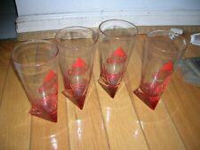 4 BASS ALE TALL PINT GLASSES WITH TRIANGULAR BOTTOM RED NEW IN BOX