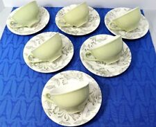 6 VERY RARE Grindley ROMANCE Tea Cup & Saucer SETS Green Ivy Leaves MINT GR1302