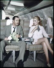 CATHERINE DENEUVE JACK LEMMON on airplane Original 4x5 TRANSPARENCY April Fools