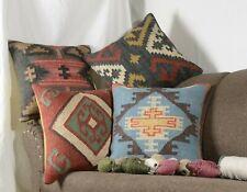 "4 Set of Wool Jute Cushion Cover 18"" Throw Indian Vintage Handmade Kilim 9024-A"