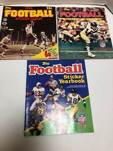 Topps Football Sticker Albums From 1983 1984 1985 About Half Complete Lot #TS3