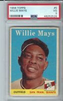 1958 TOPPS WILLIE MAYS #5 GIANTS BASEBALL CARD PSA 3 NICE CENTERING & COLOR!