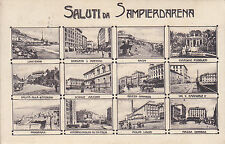 8821) SALUTI DA SAMPIERDARENA GENOVA 12 VEDUTINE VIAGGIATA NEL 1908.