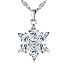 925 Silver Snowflake Pendant Fashion Jewelry Zircon Flower Necklace Women Gift