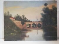 Huile sur toile Paysage / Pont / Rivière signé E. FAIVRE