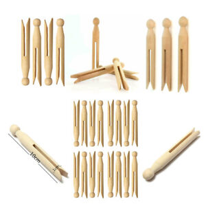 24 Pcs Wooden Dolly Pegs Portable Traditional Craft Washing Laundry Clothes Clip