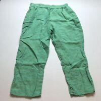 Flax 100% Linen Green Crop Capri Pants Size Large A1168