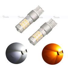 2pc 60 LED T20 White Car DRL Reverse &Amber Turn Signal Light W21W Backup Lamp