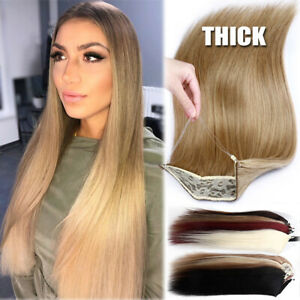 120G+ Secret Wire In Human Hair Extensions Remy Headband Crown One Piece NO CLIP