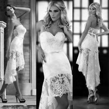 Sexy White/Ivory Hi-Low Appliques Beach Wedding Dresses Bridal Gown Customize