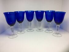 Set of 6 COBALT BLUE WINE GOBLETS OR WATER GLASSES w/ CLEAR STEMS