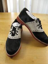 ALL BLACK Co. Black Pony Hair Leather Cheerleader Oxford Saddle Shoe Sz 38 (7.5)