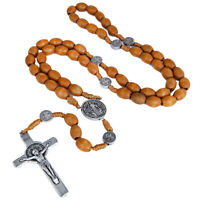 Oval Rosary Prayer Beads Christian Order of St. Benedict Crucifix Necklace 19""