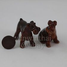 2 Red Fox Terrier Dog Puppy Set Ceramic Pottery Animal Miniature Figurine
