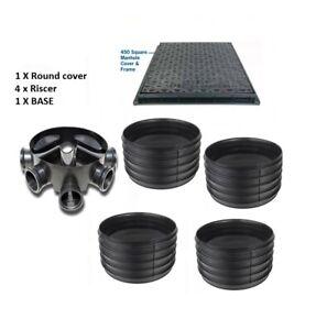 Amazon Civils 450mm Inspection Chamber Manhole  Base, 4 Riser, SQ Cover & Frame