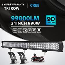 "3 Row 31Inch 990W Led Light Bar Spot Flood Offroad Driving Jeep Truck PK 32"" 36"""