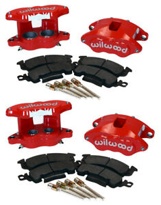 WILWOOD D52 FRONT & REAR RED BRAKE CALIPER,PAD SET W/PINS,1.04,BIG GM CALIPERS