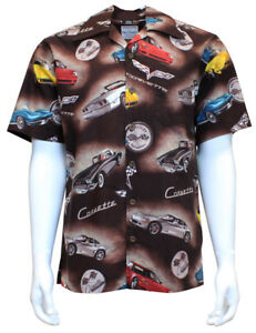 David Carey Classic Corvettes 60 Camp Shirts Vintage Retro Club Work Brown