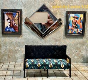 1:12 Dollhouse Art Deco rattan Sofa geometric green