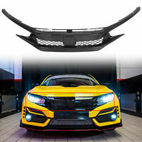 For 19-20 Honda Civic T-R Style Glossy Black Front Bumper Mesh Grille - ABS