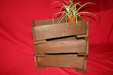 3x Rustic Wooden Small Seed Tray Planters. Trough for herbs & garden flower pots