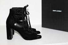 New sz 8 / 38.5 Saint Laurent Loulou Black Velvet Lace Up Caged Sandal Heel Shoe