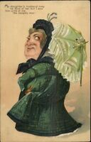 PFB Caricature Old Mother Dsapproves of Daughter's Husband c1910 Postcard