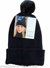 TCM Tchibo Damen Strickmütze Rippstrick mit Bommel flauschig schwarz Kunstfell