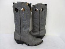 Boulet Gray Leather Port Hole Cowboy Boots Mens Size 8 E