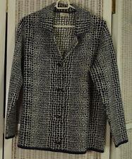 CRÉATION ATELIER GS Animal Print Cardigan M-L Black & White Vtg. Sweater Jacket