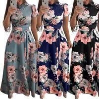 Women's Summer Boho Floral Short Sleeve Long Maxi Dress Party Beach Sundress New