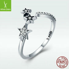 Veritable 925 Sterling Silver Open Ring Lucky Star Wish Bride Jewelry Free Size