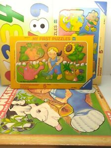 Vintage  Puzzle Trays & Wooden numbers 1980s  FREE SHIPPING USED