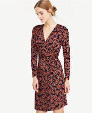 Ann Taylor - Petite 2P (XSP) Navy Blue Blossom Matte Jersey Wrap Dress