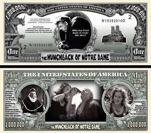 NOTRE DAME / QUASIMODO Billet DOLLAR US ! Cinéma Classique Bossu de 1939 horreur