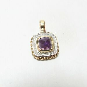 Italy Estate 14K Yellow And White Gold 2.40 Ct Natural Purple Amethyst Pendant