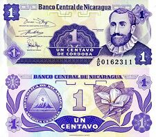 Nicaragua 1 Centavo Banknote World Paper Money Unc Currency Pick p167 Bill