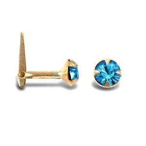 9ct Gold Hinged Nose Stud Blue Cubic Zirconia Stone E R J Co