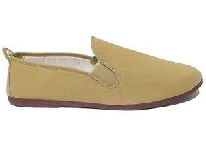 Flossy Mens Womens Beige Canvas Comfy Flat Lightweight Plimsolls Shoes
