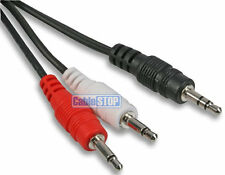 3.5mm STEREO Jack Plug to 2 x MONO Jack Plugs SPLITTER Converter Cable Lead 1m