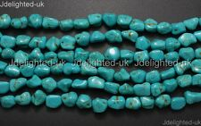 Blue Howlite Turquoise Gemstone 12mm Freeformed Nugget Spacer Loose Beads 16''