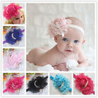 Baby Toddler Infant Girls Elastic Big Flower Pearl Headband Hairband Hair Band
