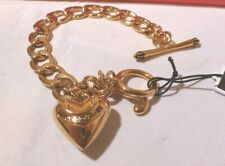 NIB Juicy Couture Puff Crown Heart Charm Gold Tone Starter Bracelet YJRUOB91