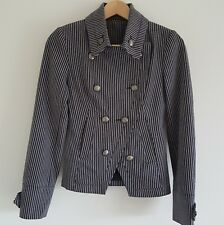 Ladies Vintage Topshop Military Style Crossover Front Navy Stripe Jacket UK 8