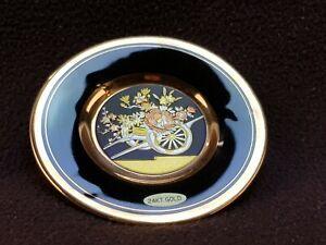 Vintage 24 Carat Gilded Japanese The Art of Chokin Miniature Plate FREE UK P&P